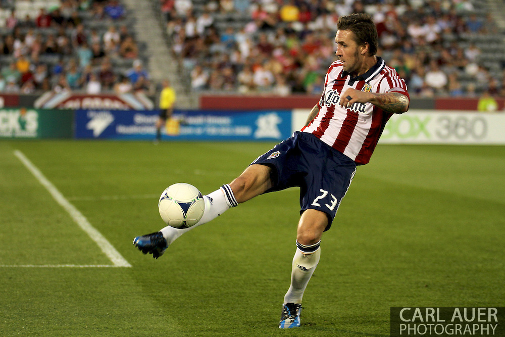 August 18th, 2012: Chivas USA defender Danny Califf (23) clears the ball back to the Colorado Rapids in the first half at Dick's Sporting Goods Park