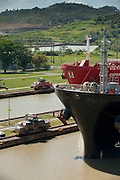 Prow of a cargo ship at Miraflores Locks. Panama Canal, Panama City, Panama, Central America.