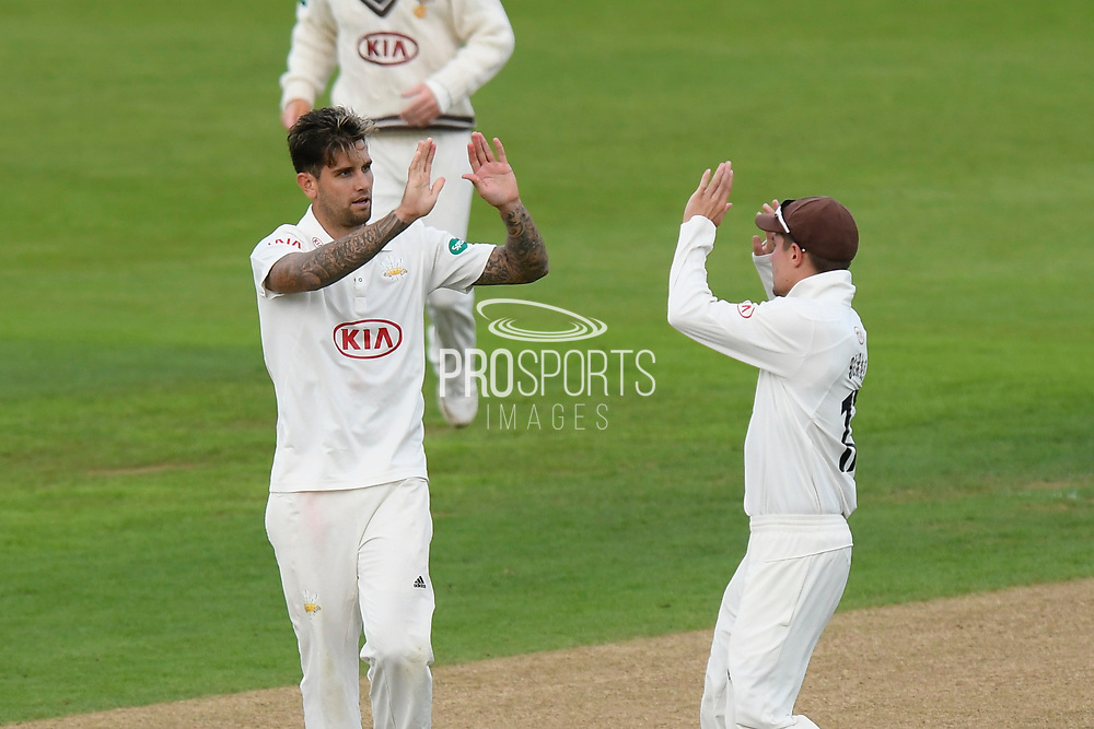 Wicket - Jade Dernbach of Surrey celebrates taking the wicket of Tom Alsop of Hampshire who is given out LBW during the Specsavers County Champ Div 1 match between Hampshire County Cricket Club and Surrey County Cricket Club at the Ageas Bowl, Southampton, United Kingdom on 6 September 2017. Photo by Graham Hunt.