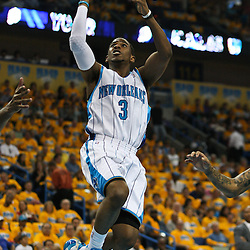 25 April 2009: New Orleans Hornets guard Chris Paul (3) drives to the basket for a score during a NBA Western Conference quarter-finals playoff game between the New Orleans Hornets and the Denver Nuggets at the New Orleans Arena in New Orleans, Louisiana.