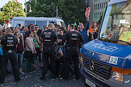 Berlin, Germany - 08.06.2016<br /> <br /> Protest against evictions and real estate speculation at the German Real Estate Day 2016 in Berlin. Activists stormed the foyer of the conference afterwards protestors try to block the evening event at the Berlin City Palace. <br /> <br /> Protest gegen Zwangsraeumungen und Immobilienspekulationen beim Deutschen Immobilientag 2016 in Berlin. Aktivisten st&uuml;rmten das Foyer des Tagungsortes und versuchten eine Abendveranstaltung im Berliner Stadtschloss zu blockieren.<br /> <br /> Photo: Bjoern Kietzmann