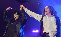 Sisters Maura and Michelle O'Toole performed as Cher and Meatloaf at the 'Stars in their Eyes' event at the Castlecourt Hotel on friday night last. <br /> Pic Conor McKeown