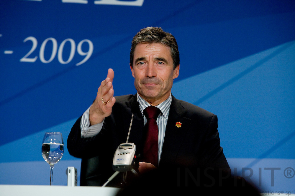 STRASBOURG - FRANCE - 04 APRIL 2009 -- NATO Summit -- The new incoming NATO Secretary-General Anders FOGH RASMUSSEN at his press briefing after the appointment  Photo: Erik Luntang
