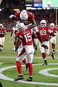 Arizona Cardinals rookie wide receiver Chad Williams (16) leaps and celebrates with Arizona Cardinals wide receiver Jeremy Ross (15) after Ross catches a fourth quarter touchdown pass with less than 10 seconds left during the 2017 NFL week 2 preseason football game against the Chicago Bears, Saturday, Aug. 19, 2017 in Glendale, Ariz. The Bears won the game 24-23. (©Paul Anthony Spinelli)