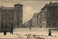 Zagreb : Akademički trg. <br /> <br /> ImpresumZagreb : Naklada A. Brusine, [1905].<br /> Materijalni opis1 razglednica : tisak ; 9 x 13,7 cm.<br /> SuradnikMosinger, Rudolf(1865.–1918.)<br /> NakladnikTiskara A. Brusina<br /> Mjesto izdavanjaZagreb<br /> Vrstavizualna građa • razglednice<br /> ZbirkaZbirka razglednica • Grafička zbirka NSK<br /> ProjektPozdrav iz Hrvatske<br /> Formatimage/jpeg<br /> PredmetZagreb –– Trg Josipa Jurja Strossmayera<br /> Jezikhrvatski<br /> SignaturaRZG-STRG-7<br /> Obuhvat(vremenski)20. stoljeće<br /> NapomenaRazglednica je putovala 1905. godine. • Poleđina razglednice je namijenjena samo za adresu. • Razglednica je izrađena prema fotografiji R. Mosingera. • Uz lijevi rub na poleđini razglednice otisnut je monogram Rudolfa Mosingera.<br /> PravaJavno dobro<br /> Identifikatori000952329<br /> NBN.HRNBN: urn:nbn:hr:238:468976 <br /> <br /> Izvor: Digitalne zbirke Nacionalne i sveučilišne knjižnice u Zagrebu