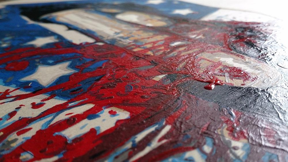 "Original: ""Bite US A Bullet"" - 11""x14"" Acrylic on Birch panel - SOLD."