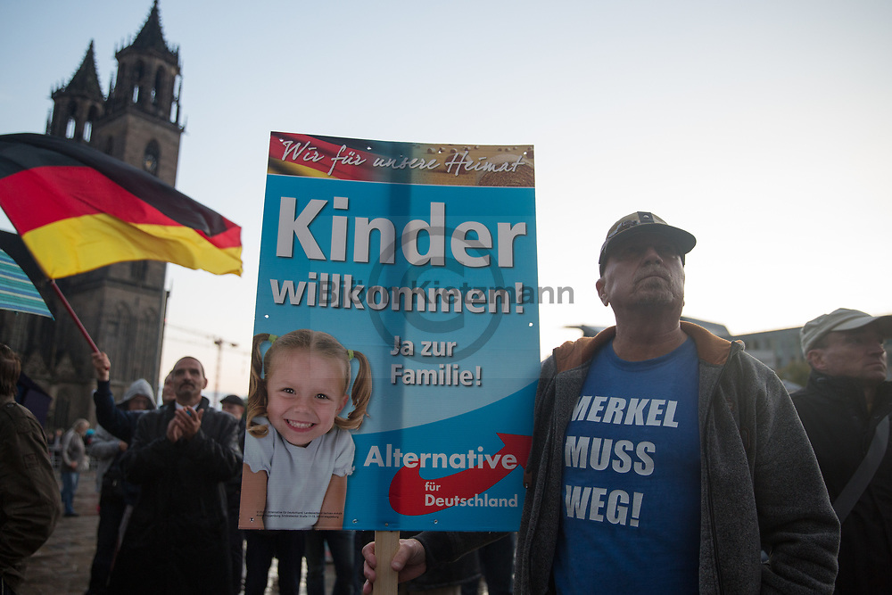 Magdeburg, Germany - 12.09.2017<br /> <br /> Election rally of the far rightwing Alternative for Germany (AfD) in Magdeburg.<br /> <br /> Wahlkampfkundgebung der Alternative fuer Deutschland (AfD) in Magdeburg.<br /> <br /> Photo: Bjoern Kietzmann