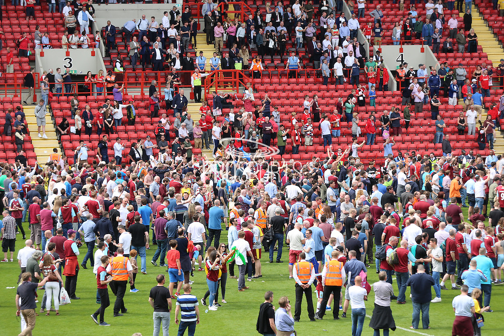 Pitch invasion during the Sky Bet Championship match between Charlton Athletic and Burnley at The Valley, London, England on 7 May 2016. Photo by Matthew Redman.