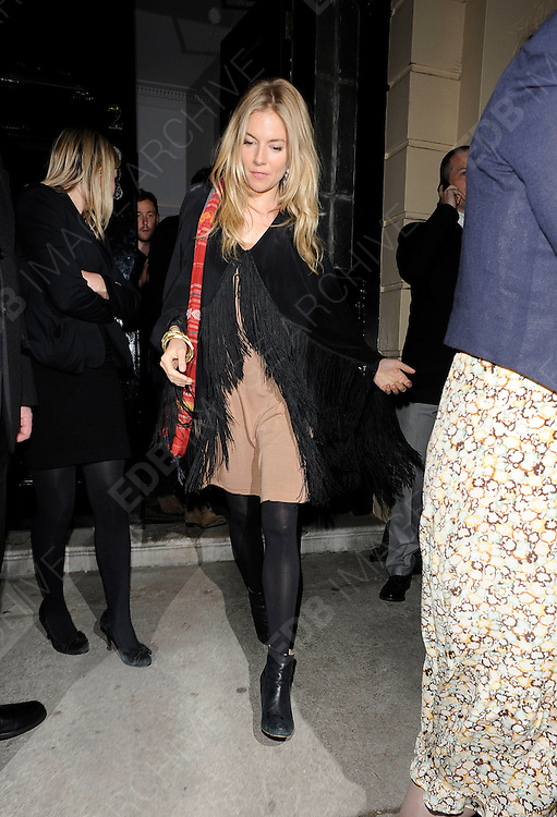 03.MAY.2011. LONDON<br /> <br /> ACTRESS SIENNA MILLER AT THE HOMEHOUSE CLUB IN MAYFAIR IN CENTRAL LONDON AFTER ATTENDING THE UK PREMIERE OF THE FILM WATER FOR ELEPHANTS.<br /> <br /> BYLINE: EDBIMAGEARCHIVE.COM<br /> <br /> *THIS IMAGE IS STRICTLY FOR UK NEWSPAPERS AND MAGAZINES ONLY*<br /> *FOR WORLD WIDE SALES AND WEB USE PLEASE CONTACT EDBIMAGEARCHIVE - 0208 954 5968*