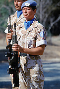 British soldier in the United Nations peacekeeping troops at their UN base in Cyprus