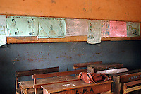 Ghana, Accra, Kokomlemle, 2007. Valuable primary school lessons are posted on the walls at the rear of the classroom at Kwameh Nkrumah Memorial School.