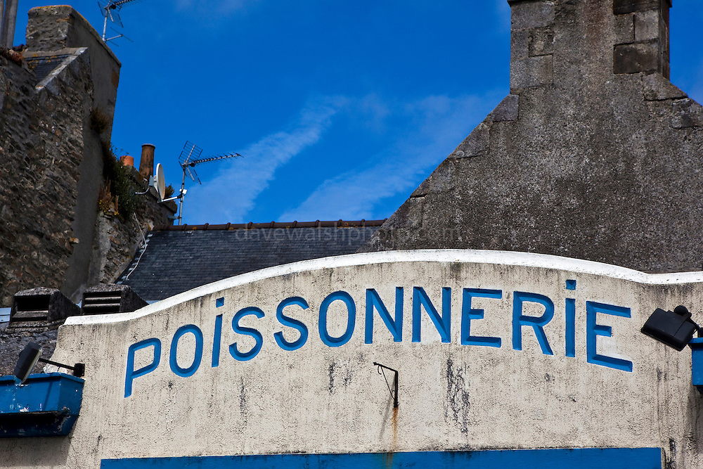 Poissonnerie - a fish ship in the port town of Roscoff, Brittany, France