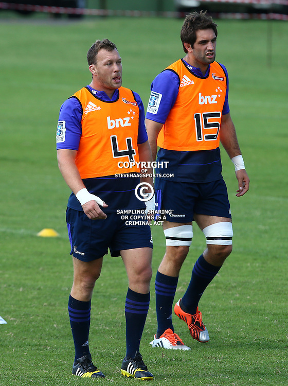 DURBAN, SOUTH AFRICA, 22,MARCH, 2016 - Wyatt Crockett with Samuel Whitelock during The Crusaders training session  at Northwood School Durban North in Durban, South Africa. (Photo by Steve Haag)<br /> <br /> images for social media must have consent from Steve Haag