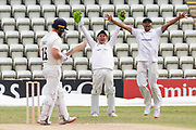 Harry Swindells (wkt) & Ben Mike are convinced of a catch behind from Danny Lamb during the Bob Willis Trophy match between Lancashire County Cricket Club and Leicestershire County Cricket Club at Blackfinch New Road, Worcester, United Kingdom on 4 August 2020.
