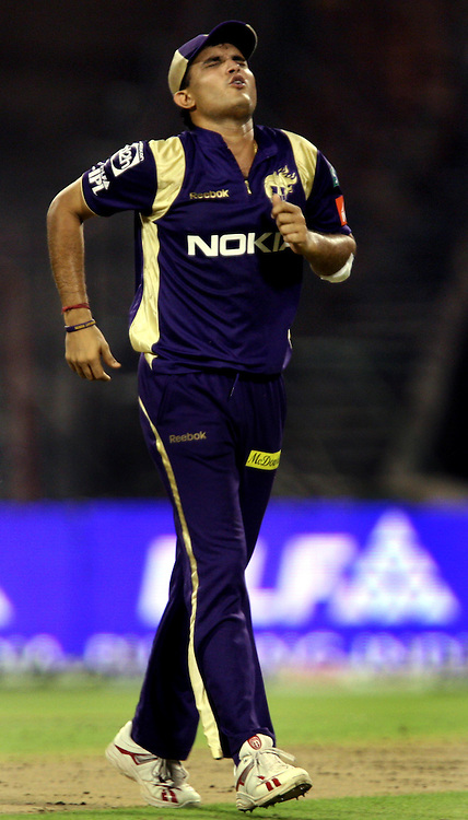 Kolkata Knight Riders Sourav Ganguly injured During The  Indian Premier League - 56th match Twenty20 match | 2009/10 season Played at Eden Gardens, Kolkata 19 April 2010 - day/night (20-over match)