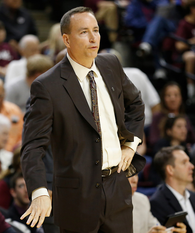 Jan 30, 2016; College Station, TX, USA;  Texas A&M Aggies head coach Bill Kennedy wathces play agains the Iowa State Cyclones at Reed Arena. A&M won 72 to 62. Mandatory Credit: Thomas B. Shea-USA TODAY Sports