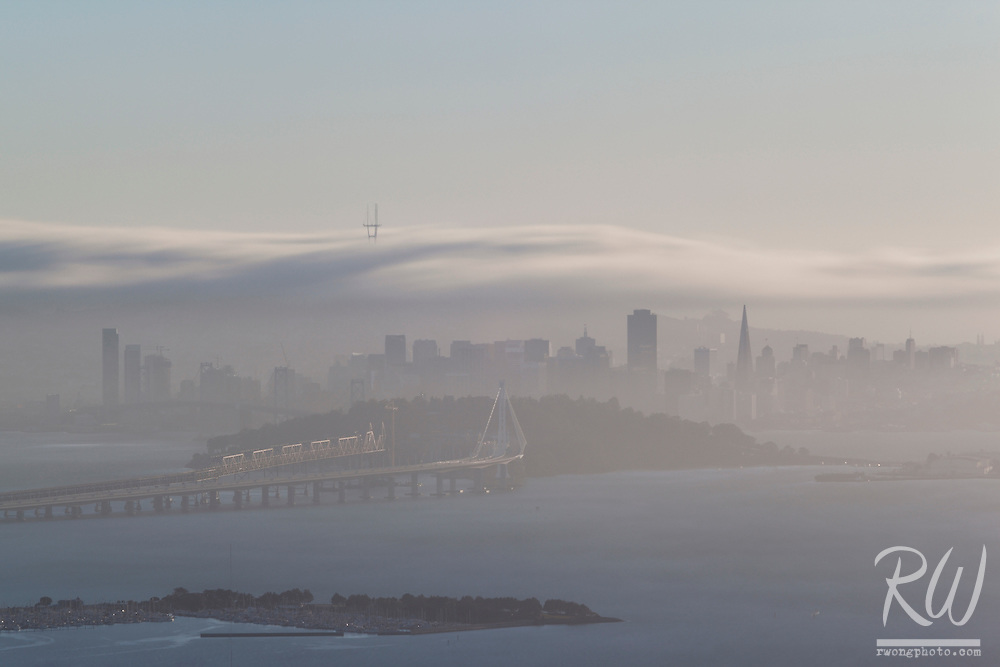 Long Exposure of Fog Rolling Over San Francisco, California
