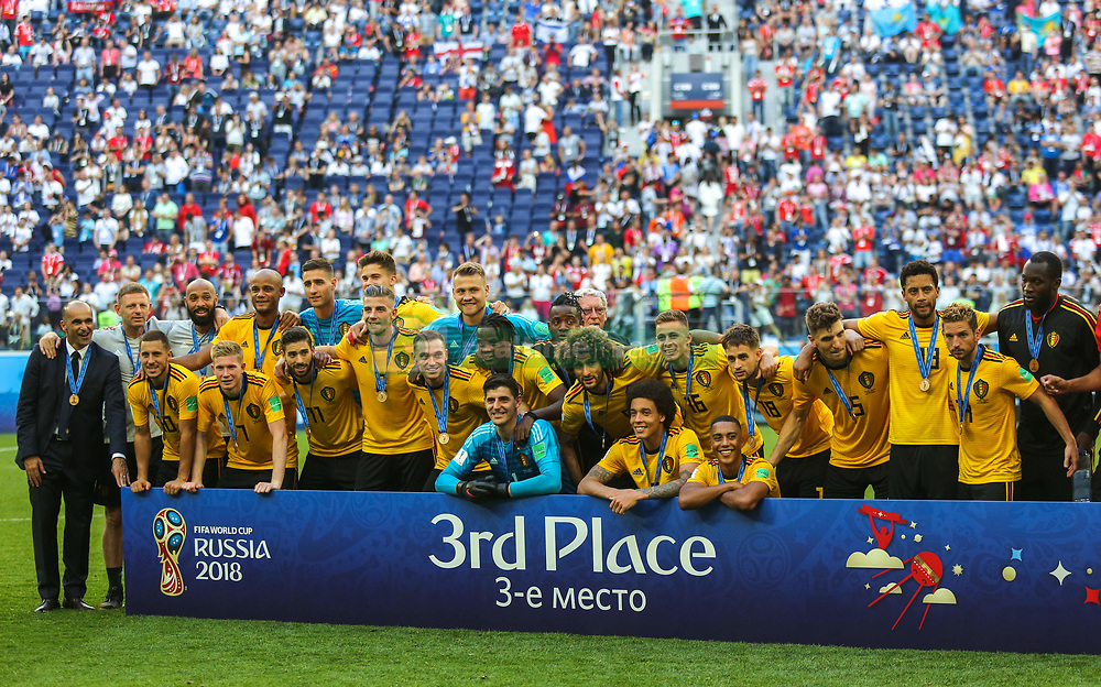 July 14, 2018 - Saint Petersburg, Russia - Players of the Belgium national football team after the 2018 FIFA World Cup Russia 3rd Place Playoff match between Belgium and England at Saint Petersburg Stadium on July 14, 2018 in St. Petersburg, Russia. (Credit Image: © Igor Russak/NurPhoto via ZUMA Press)
