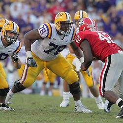 25 October 2008:  LSU offensive lineman Joseph Barksdale (78) blocks Georgia defender Justin Houston (42) during the Georgia Bulldogs 52-38 victory over the LSU Tigers at Tiger Stadium in Baton Rouge, LA.