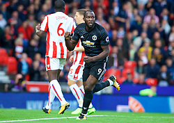 STOKE-ON-TRENT, ENGLAND - Saturday, September 9, 2017: Manchester United's Romelu Lukaku celebrates scoring the second goal during the FA Premier League match between Stoke City and Manchester United at the Bet365 Stadium. (Pic by David Rawcliffe/Propaganda)
