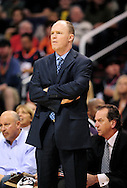 Jan. 8, 2012; Phoenix, AZ, USA; Milwaukee Bucks head coach Scott Skiles reacts on the sidelines while playing against the Phoenix Suns at the US Airways Center.  The Suns defeated the Bucks 109-93. Mandatory Credit: Jennifer Stewart-US PRESSWIRE.