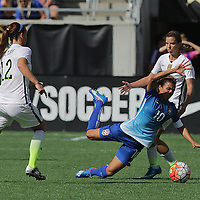 ORLANDO, FL - OCTOBER 25: Marta #10 of Brazil trips as she plays the ball during a women's international friendly soccer match between Brazil and the United States at the Orlando Citrus Bowl on October 25, 2015 in Orlando, Florida. The United States won the match 3-1. (Photo by Alex Menendez/Getty Images) *** Local Caption *** Marta