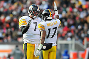 Jan. 2, 2011; Cleveland, OH, USA; Pittsburgh Steelers quarterback Ben Roethlisberger (7) talks with wide receiver Mike Wallace (17) during the second quarter against the Cleveland Browns at Cleveland Browns Stadium. The Steelers beat the Browns 41-9. Mandatory Credit: Jason Miller-US PRESSWIRE