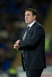 CARDIFF, WALES - Tuesday, February 14, 2012: Cardiff City's manager Malky Mackay during the Football League Championship match against Peterborough United at the Cardiff City Stadium. (Pic by David Rawcliffe/Propaganda)