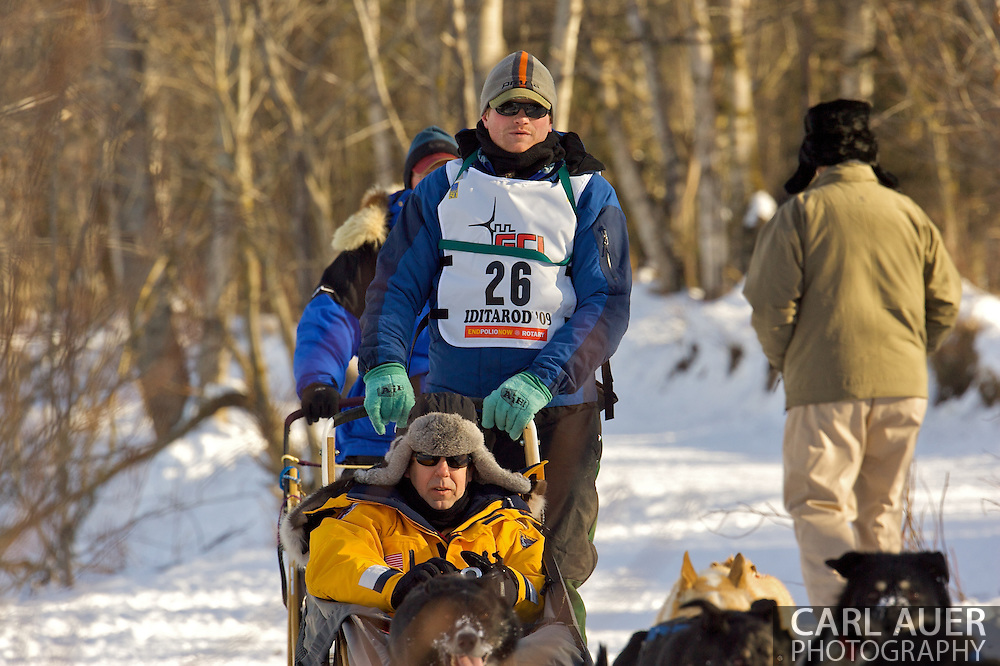 March 7th, 2009:  Anchorage, Alaska - Chad Lindner of Brookline, Mass. during the start of the 2009 Iditarod.