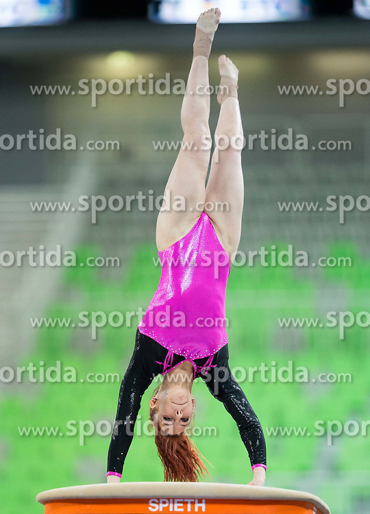 Tjasa Kysselef of Slovenia competes in the Vault during Qualifications of Artistic Gymnastics World Challenge Cup Ljubljana, on April 3, 2015 in Arena Stozice, Ljubljana, Slovenia. Photo by Vid Ponikvar / Sportida