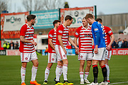 Hamilton look to get themselves back into the game and group on the edge of the Rangers box for the 1st corner of the 2nd half during the Ladbrokes Scottish Premiership match between Hamilton Academical FC and Rangers at The Hope CBD Stadium, Hamilton, Scotland on 24 February 2019.