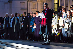 "London, October 23 2017. Nelson Mandela's group of Elders including former UN Secretary General Kofi Annan and Secretary General Ban Ki-moon accompanied by his widow Graca Machel gather at Parliament Square at the start of the Walk Together event in memory of Nelson Mandela before a candlelight vigil at his statue in Parliament Square. ""WalkTogether is a global campaign to inspire hope and compassion, celebrating communities working for the freedoms that unite us"". PICTURED: Kofi Annan addresses the gathering in Trafalgar Square  © Paul Davey"