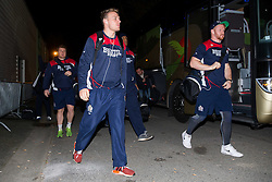 Mitch Eadie comes off the bus as Bristol Rugby arrive at the stadium - Rogan Thomson/JMP - 16/12/2016 - RUGBY UNION - Stade du Hameau - Pau, France - Pau v Bristol Rugby - EPCR Challenge Cup.