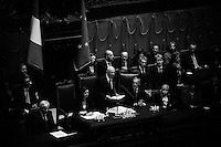ROME, ITALY - 22 APRIL 2013: Re-elected Italian President Giorgio Napolitano takes the presidential oath at the parliament in Rome, Italy, on April 22, 2013. Napolitano, 87, was sworn in for an unprecedented second term, amid hopes of an end this week to a deadlock on forming a new government.<br /> <br /> Italy's lawmakers re-elected 87-year-old President Giorgio Napolitano on Saturday in a bid to break the country's political gridlock, as protestors outside parliament jeered the result. The ex-communist Napolitano won with a sweeping majority of 738 ballots out of 1,007 possible votes -- well ahead of leftist academic Stefano Rodota, backed by the the anti-establishment Five Star Movement, who scored 217.