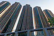 Modern apartment buildings at Wong Tai Sin district (Fung Tak Road), Kowloon, Hong Kong, China.