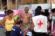 Roma 11 Settembre 2008.Censimento della Croce Rossa  al Campo rom di Casilino 900 abitato da rom della ex Juogoslavia..Census of the Red Cross on Rom's camp  Casilino 900 inhabited by  Yugoslavia Romani