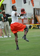 BEREA, OH - AUGUST 3:  Wide receiver Brandon Rideau #11 of the Cleveland Browns concentrates on the ball while catching a pass during training camp at the Cleveland Browns Training and Administrative Complex on August 3, 2006 in Berea, Ohio. ©Paul Anthony Spinelli *** Local Caption *** Brandon Rideau