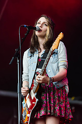 © Licensed to London News Pictures. 30/05/2014. Barcelona, Spain.   Speedy Ortiz performing live at Primavera Sound festival.  In this picture - Sadie Dupuis.  Speedy Ortiz is an American indie rock band composed of members Sadie Dupuis (vocals/guitar), Mike Falcone (drums), and Darl Ferm (bass) and Devin McKnight (guitar).  Primavera Sound, or simply Primavera, is an annual music festival that takes place in Barcelona, Spain in late May/June within the Parc del Fòrum leisure site. Photo credit : Richard Isaac/LNP
