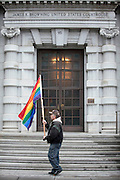 Outside the Ninth Circuit Court of appeals gay rights supporters waited for the ruling that ultimately affirmed Vaughn Walkers ruling of Proposition 8 being unconstitutional. ..photo by Jason Doiy.2-7-2012..
