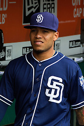 SAN FRANCISCO, CA - MAY 25: Alexi Amarista #5 of the San Diego Padres stands in the dugout before the game against the San Francisco Giants at AT&T Park on May 25, 2016 in San Francisco, California. The San Francisco Giants defeated the San Diego Padres 4-3 in 10 innings. (Photo by Jason O. Watson/Getty Images) *** Local Caption *** Alexi Amarista
