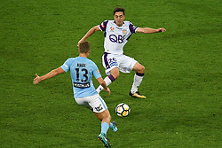 November 24, 2017 - Melbourne, Victoria, Australia - STEFAN MAUK (13) of Melbourne City and JACOB ITALIANO (26) of the Glory compete for the ball\ in the round eight match of the A-League between Melbourne City and Perth Glory at AAMI Park, Melbourne, Australia. Perth won 3-1 (Credit Image: © Sydney Low via ZUMA Wire)