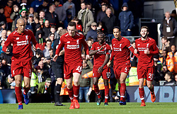 LONDON, ENGLAND - Sunday, March 17, 2019: Liverpool's Sadio Mane celebrates scoring the first goal with team-mates during the FA Premier League match between Fulham FC and Liverpool FC at Craven Cottage. (Pic by David Rawcliffe/Propaganda)