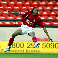 Photo: Dave Linney.<br /> Walsall v Gillingham. Coca Cola League 1. 12/11/2005. <br /> Ishmel Demontagnac scores the opening goal for Walsall.