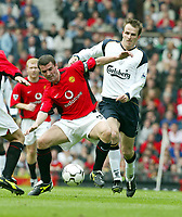 Liverpool's Dietmar Hamann and Manchester United's Roy Keane during the Premiership match at Old Trafford, Manchester, Saturday, March 5th, 2003.<br />