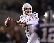 University of Texas quarterback Jevan Snead (7) looks down field against Kansas State in the second half at Bill Snyder Family Stadium in Manhattan, Kansas, November 11, 2006.  The Wildcats upset 4th ranked Texas 45-42.<br />