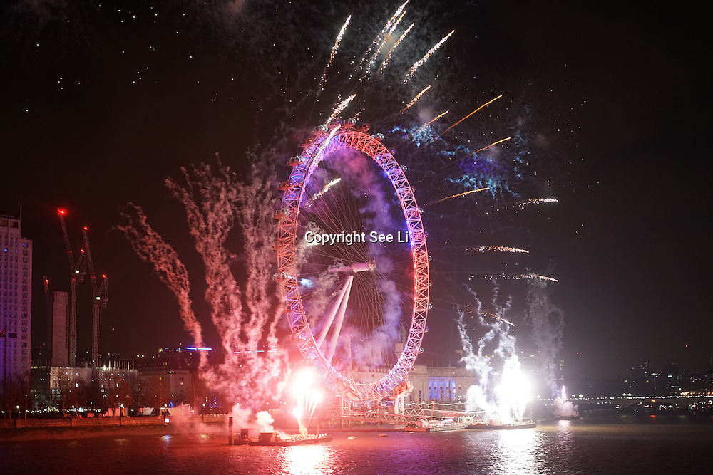 London sees in the new year with its annual fireworks display on the River Thames,UK. Photo  by See Li