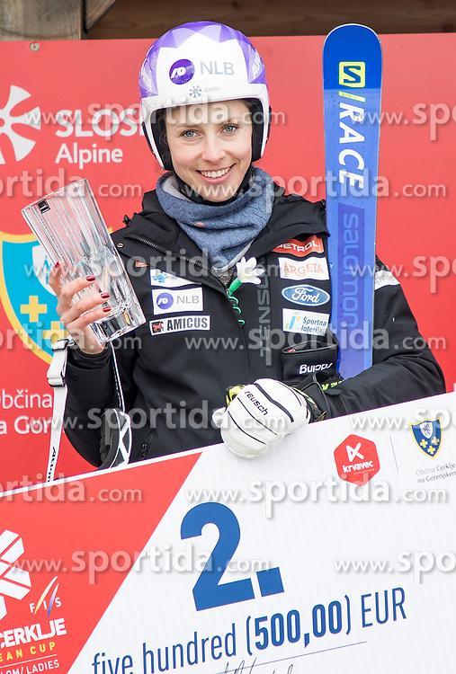 Ana Bucik from Slovenia during the ceremony of giant slalom for European Cup on 27.2.2020 on Krvavec, Cerklje na Gorenjskem, Slovenia. Photo by Urban Meglič / Sportida