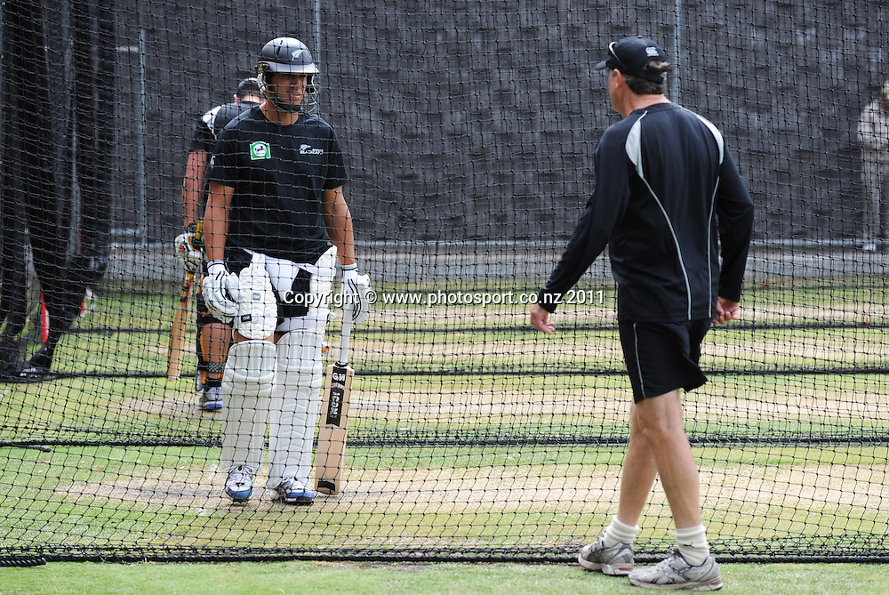 Ross Taylor talks to coach John Wright training ahead of the second cricket test match versus Australia in Hobart. Wednesday 7 December 2011. Photo: Andrew Cornaga/Photosport.co.nz