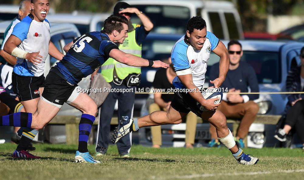 Grammar winger Otulea Katoa scores a try. Grammar TEC v Ponsonby. Auckland Premier Club Rugby. Alan McEvoy Memorial Shield. Auckland, New Zealand. Saturday 9 May 2015. Copyright Photo: Andrew Cornaga / www.Photosport.co.nz