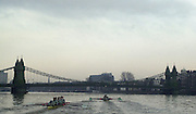 19/12/2003 - Photo  Peter Spurrier.2004 Cambridge University Boat Club Trail 8's..Guns and Rose [Right] approach Hammersmith Bridge Varsity; Boat Race Rowing Course: River Thames, Championship course, Putney to Mortlake 4.25 Miles